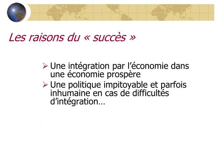 Les raisons du «succès»
