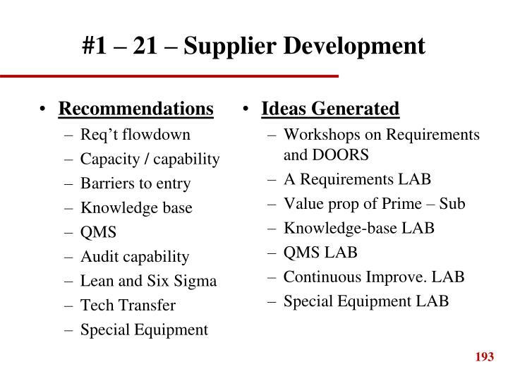 #1 – 21 – Supplier Development