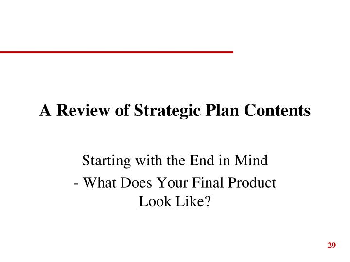 A Review of Strategic Plan Contents