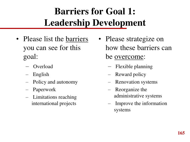 Barriers for Goal 1: