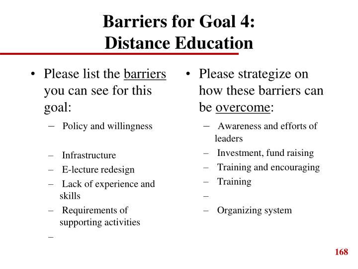 Barriers for Goal 4: