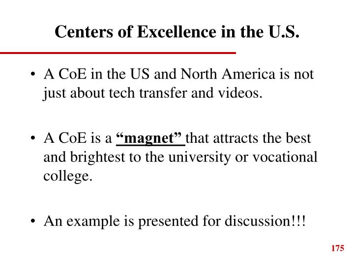 Centers of Excellence in the U.S.