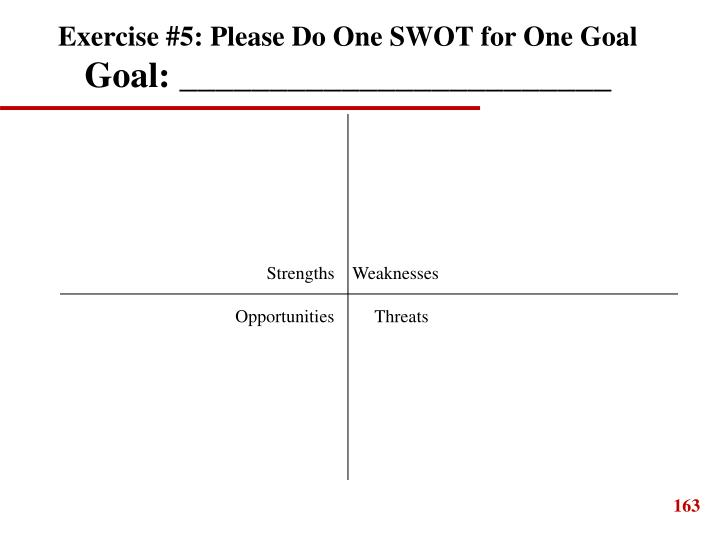 Exercise #5: Please Do One SWOT for One Goal