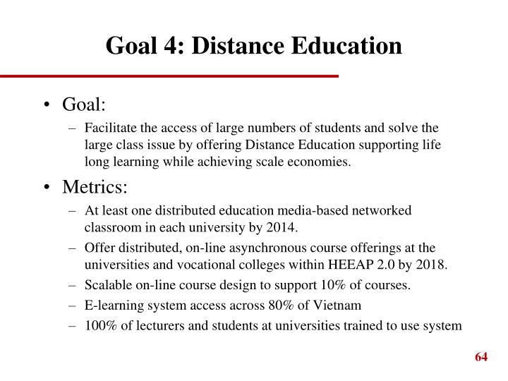 Goal 4: Distance Education
