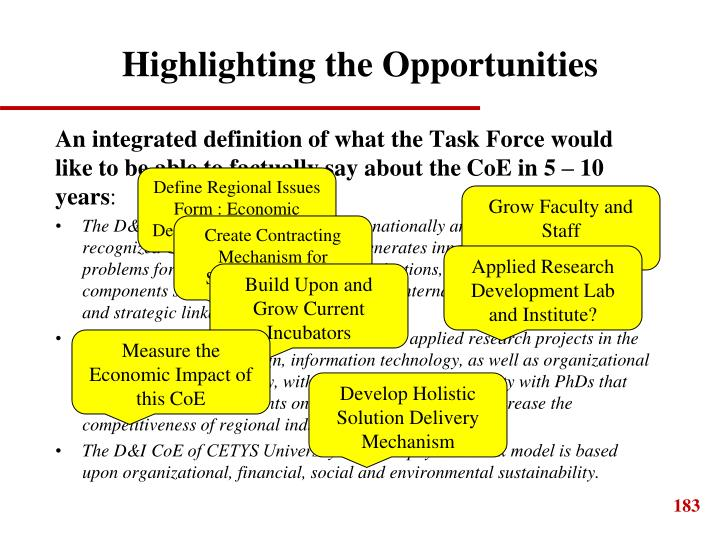 Highlighting the Opportunities