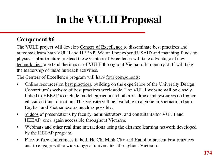 In the VULII Proposal