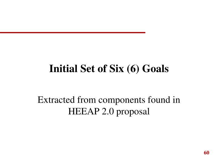 Initial Set of Six (6) Goals