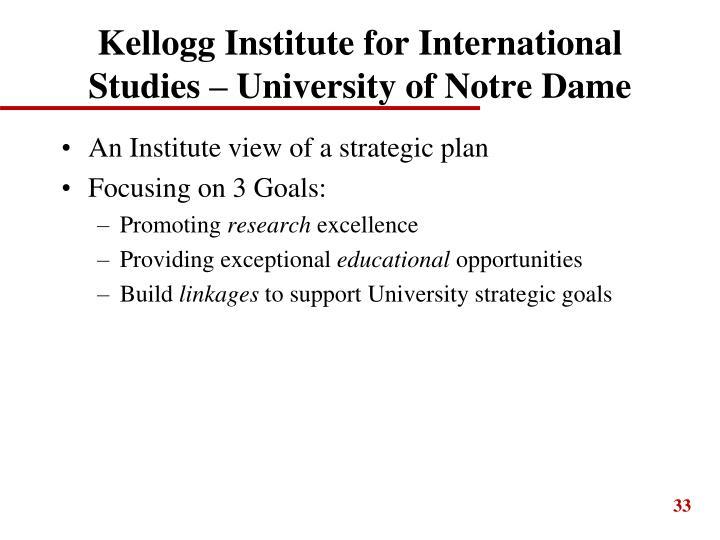 Kellogg Institute for International Studies – University of Notre Dame