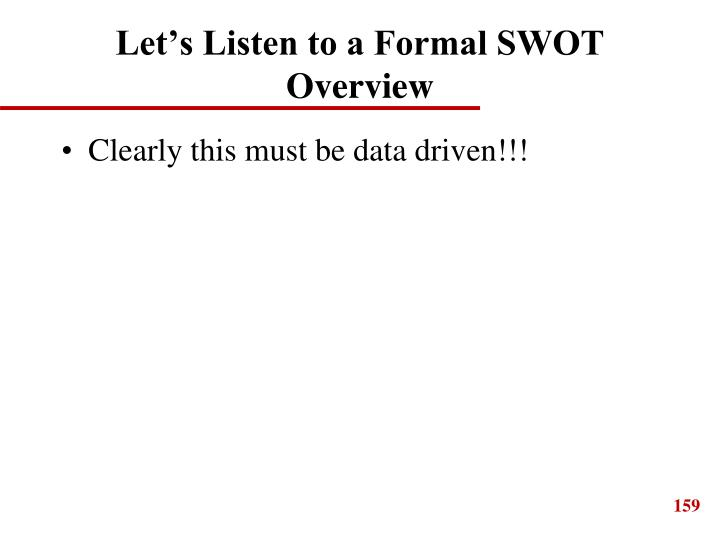 Let's Listen to a Formal SWOT Overview