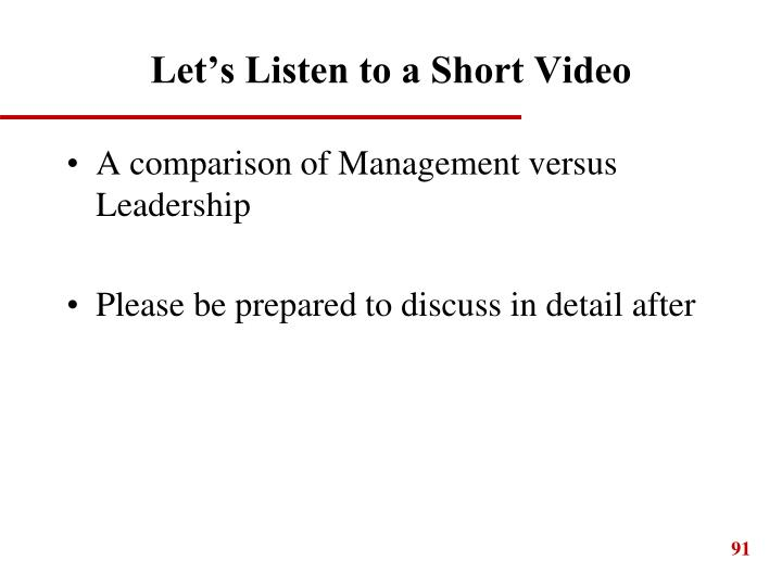 Let's Listen to a Short Video