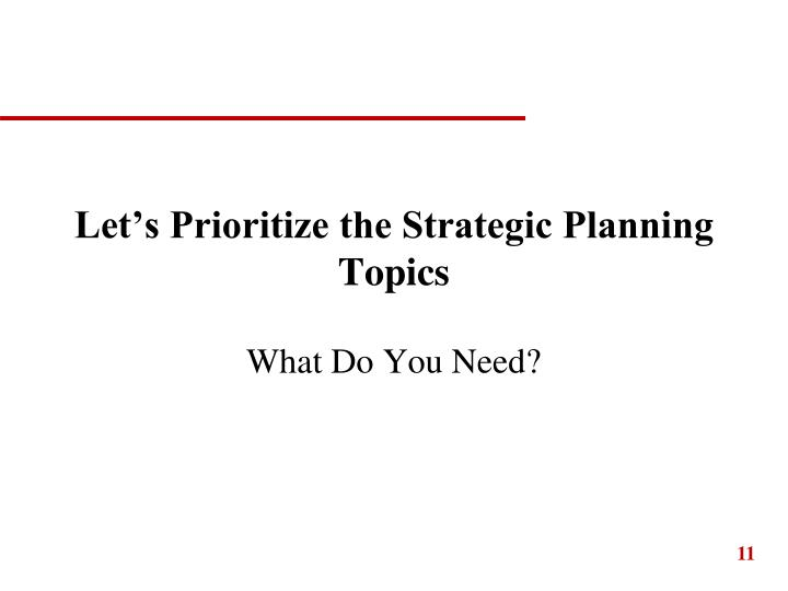 Let's Prioritize the Strategic Planning Topics