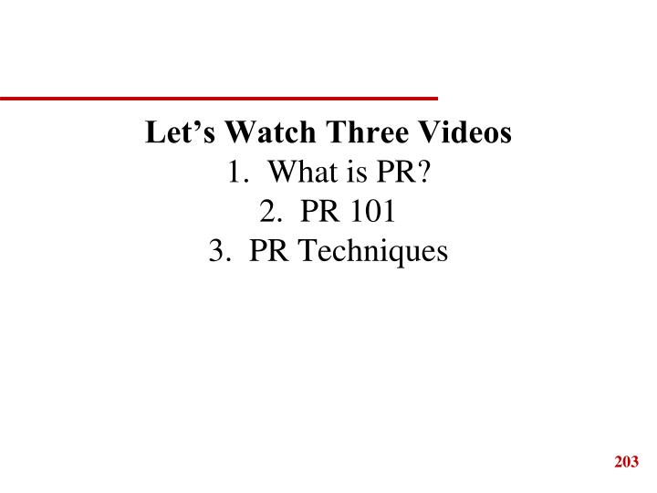 Let's Watch Three Videos