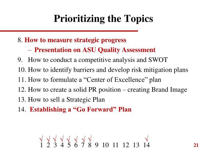 Prioritizing the Topics