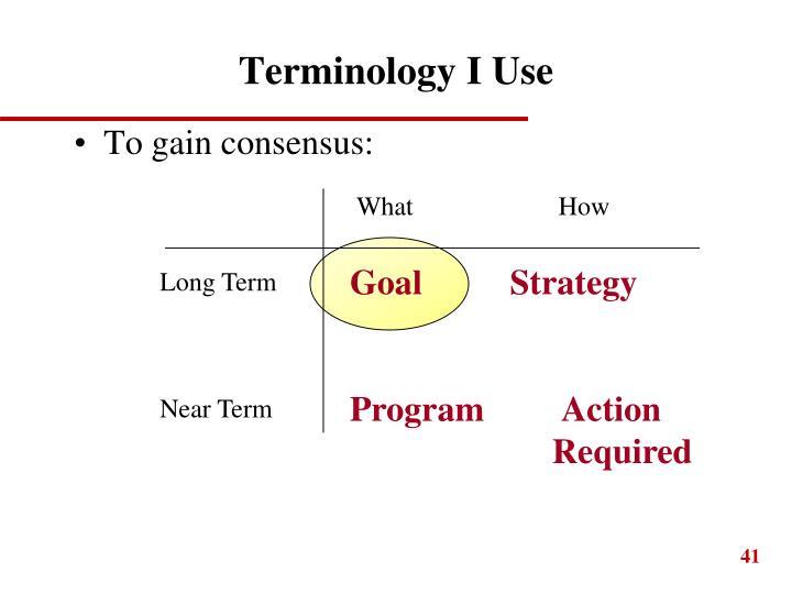 Terminology I Use