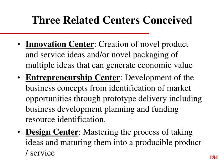 Three Related Centers Conceived