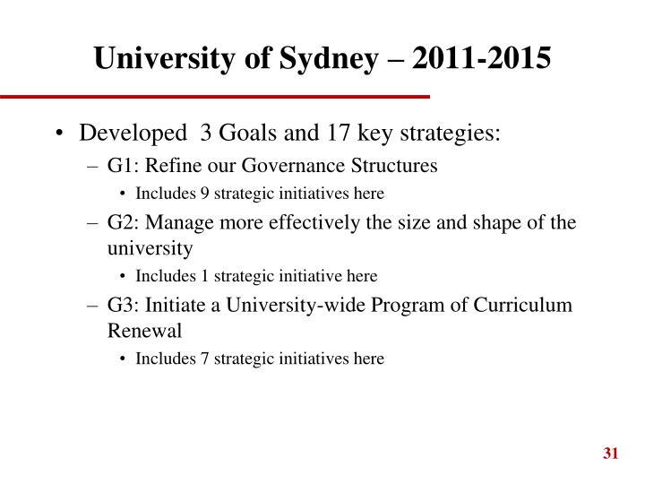 University of Sydney – 2011-2015