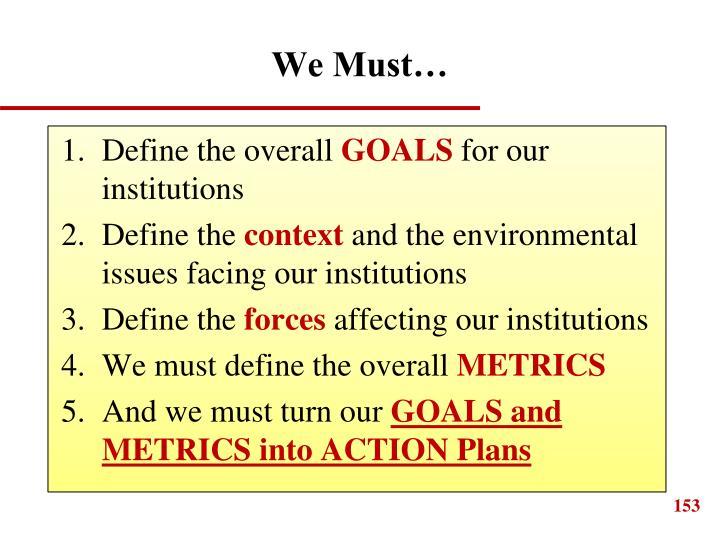 We Must…