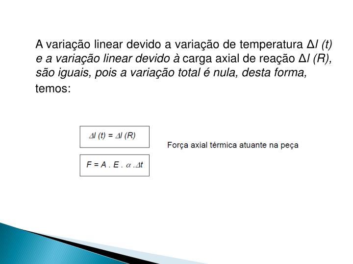 A variação linear devido a variação de temperatura Δ