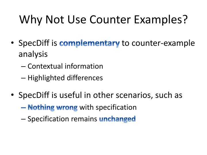 Why Not Use Counter Examples?