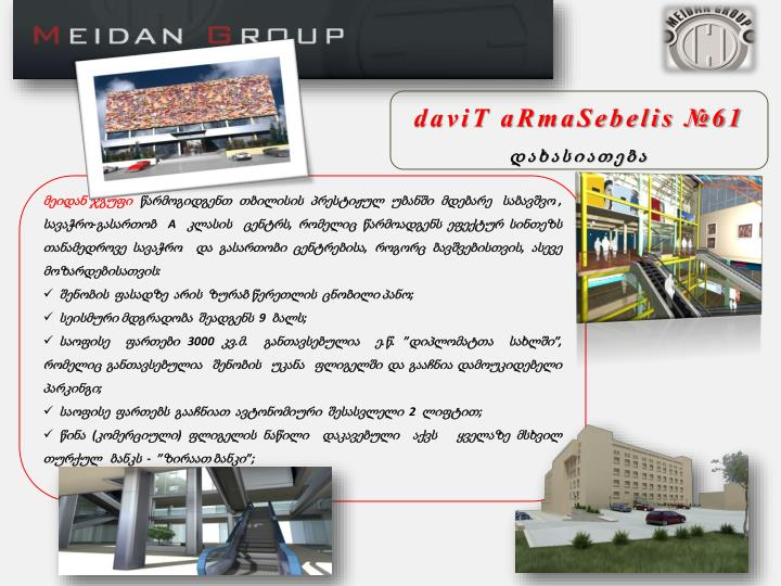 daviT aRmaSebelis №61