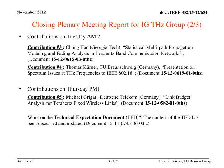 Closing Plenary Meeting