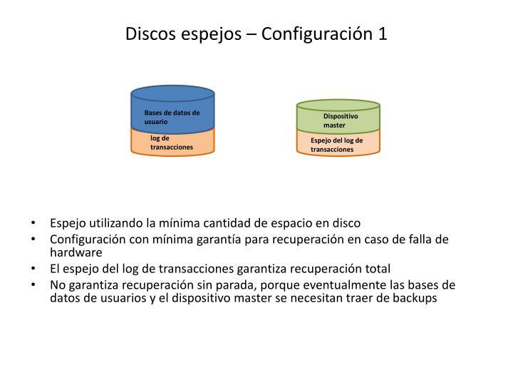 Discos espejos – Configuración 1