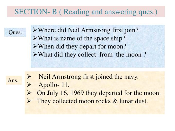 SECTION- B ( Reading and answering ques.)