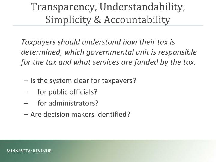 Transparency, Understandability,