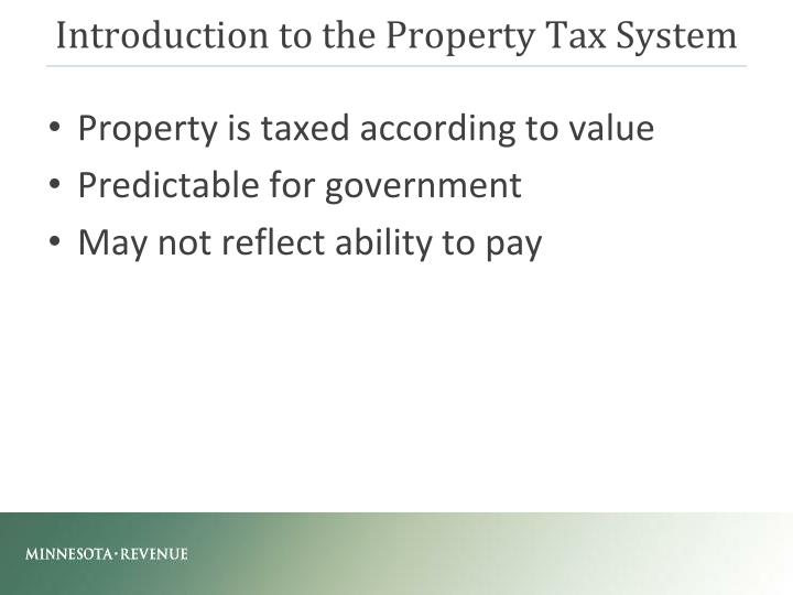 Introduction to the Property Tax System