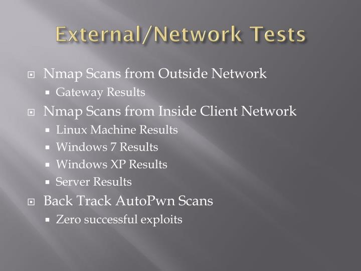External/Network Tests