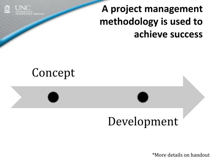 A project management methodology is used to achieve success