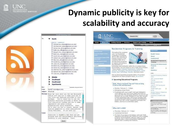 Dynamic publicity is key for scalability and accuracy