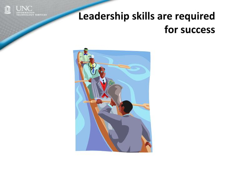 Leadership skills are required for success
