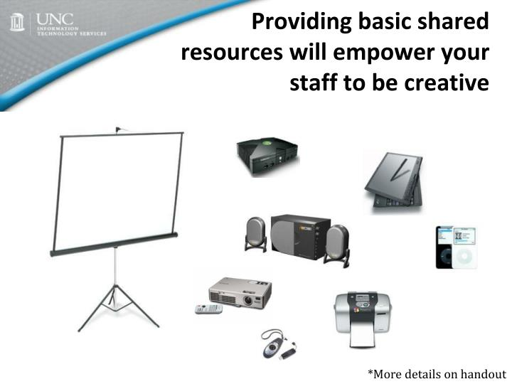 Providing basic shared resources will empower your staff to be creative