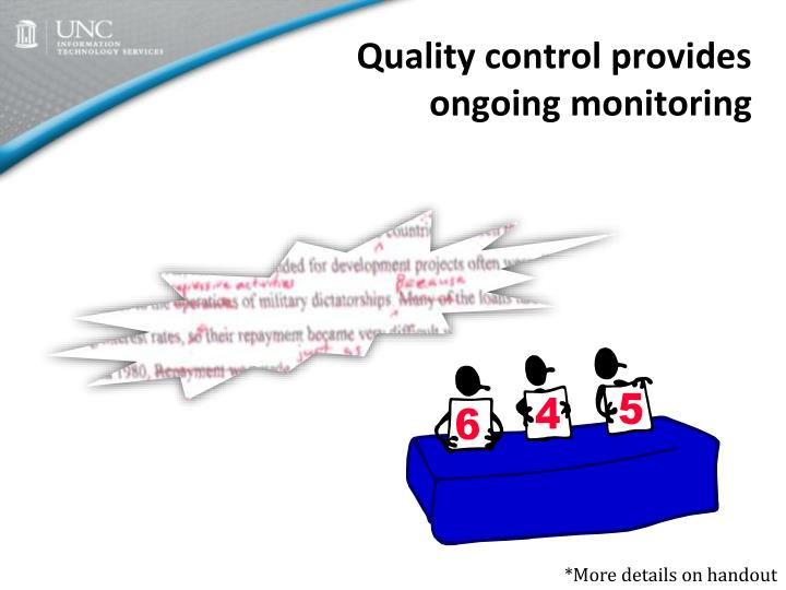 Quality control provides ongoing monitoring