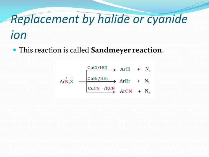 Replacement by halide or cyanide ion