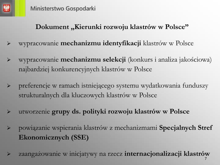 """Dokument """"Kierunki rozwoju klastrów w Polsce"""""""