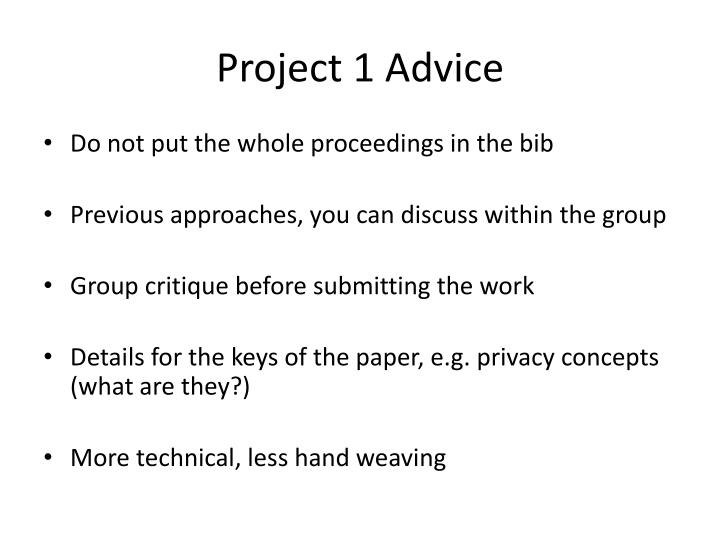 Project 1 Advice