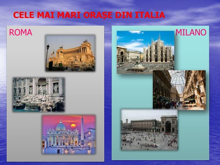 CELE MAI MARI ORAȘE DIN ITALIA
