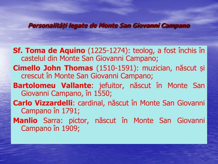 Personalități legate de Monte San Giovanni Campano