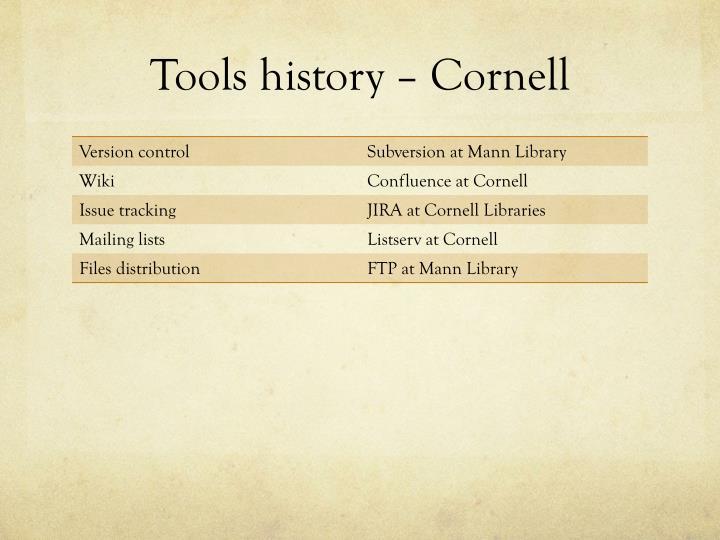 Tools history – Cornell