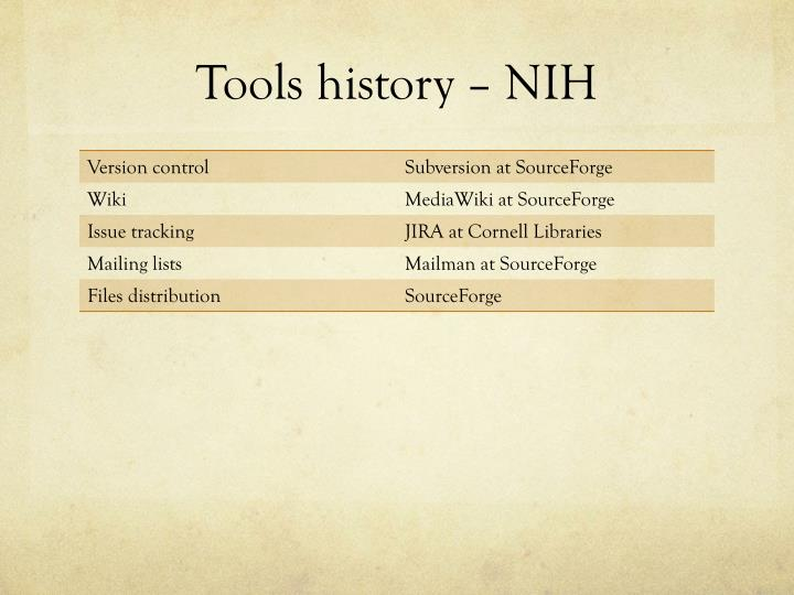 Tools history – NIH