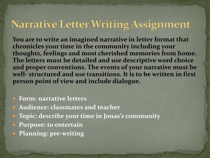 Narrative Letter Writing Assignment