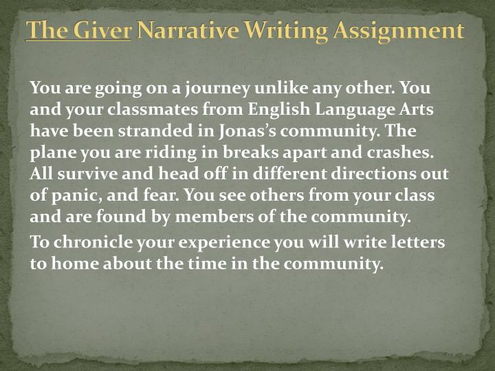 The giver narrative writing assignment