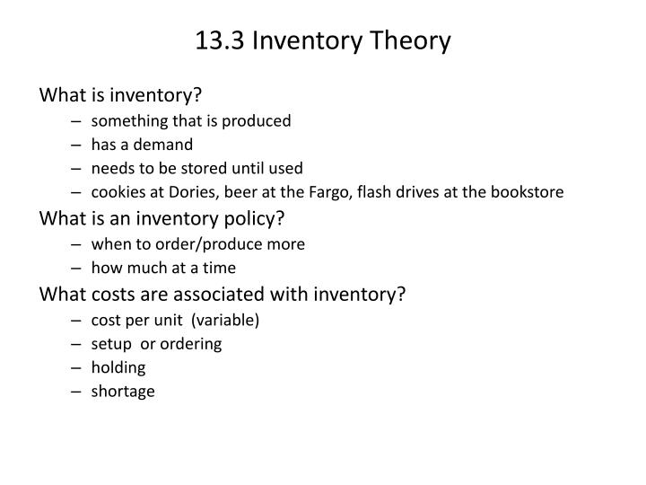 13.3 Inventory Theory