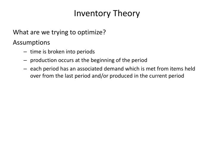 Inventory Theory