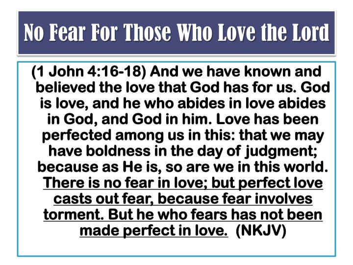 No Fear For Those Who Love the Lord