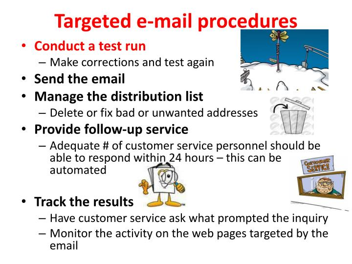 Targeted e-mail procedures