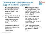 characteristics of questions that support students exploration