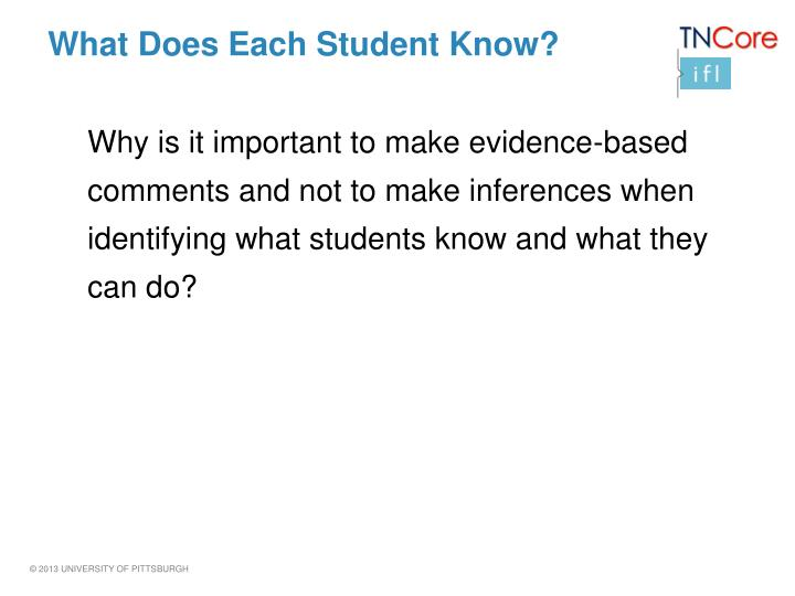 What Does Each Student Know?